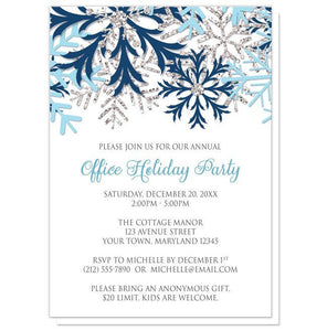 Winter Blue Silver Snowflake Holiday Party Invitations