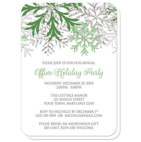Holiday Party Invitations - Green Silver Snowflake Winter - rounded corners