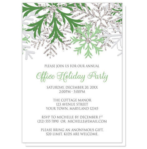 Holiday Party Invitations - Green Silver Snowflake Winter