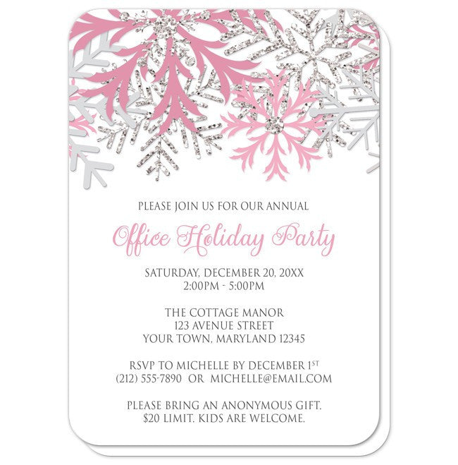 Pink Silver Snowflake Winter Holiday Party Invitations at  Artistically Invited