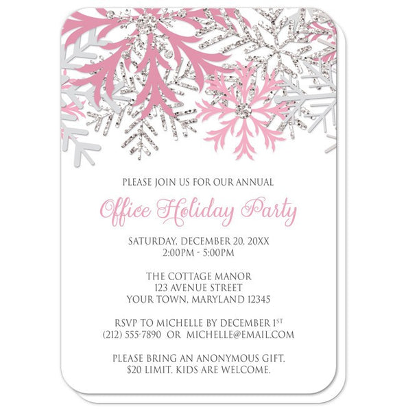 Holiday Party Invitations - Pink Silver Snowflake Winter - rounded corners