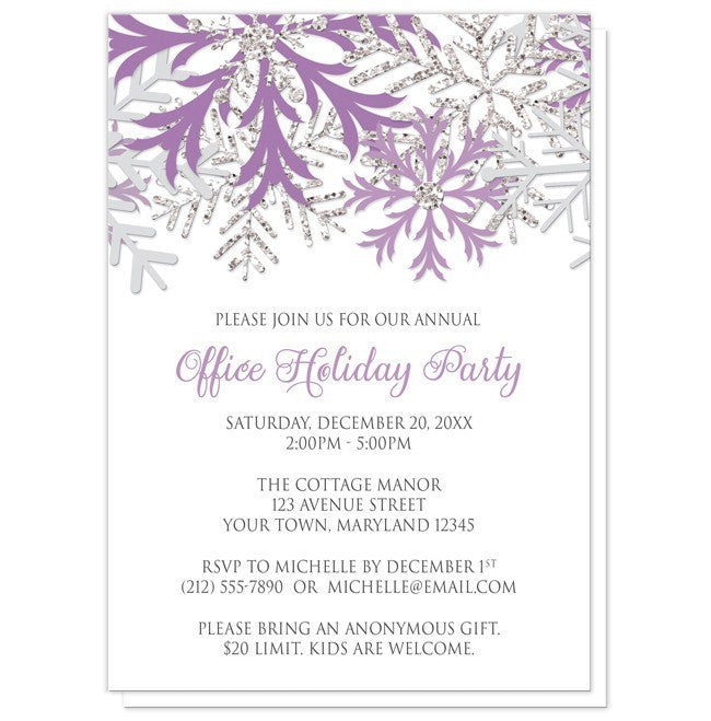 Silver Snowflake Winter Holiday Party Invitations at Artistically – Snowflake Party Invitations