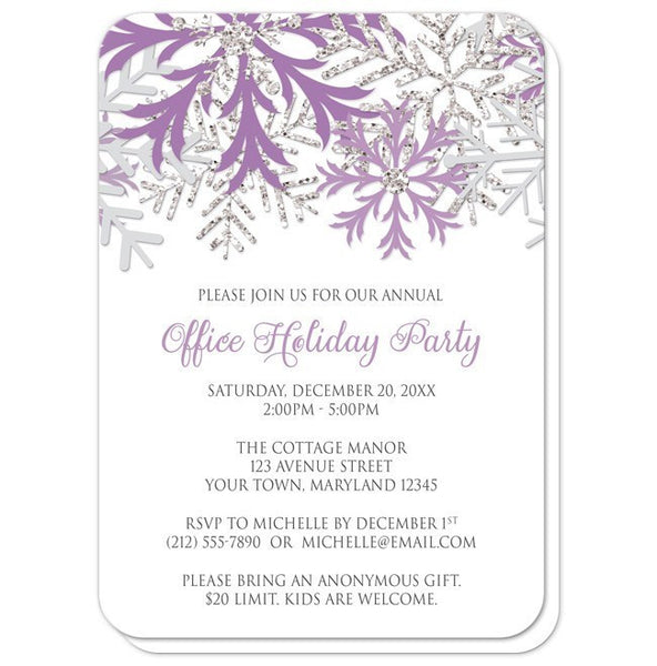 Holiday Party Invitations - Purple Silver Snowflake Winter - rounded corners