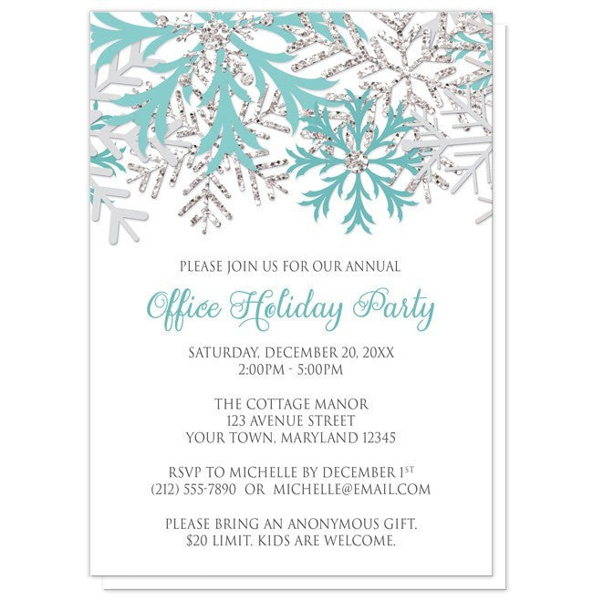 holiday party invitations teal silver snowflake winter
