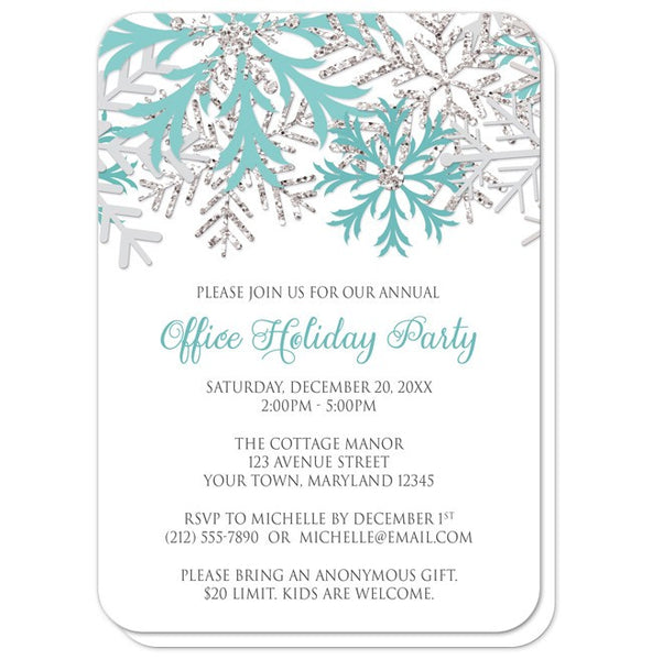 Holiday Party Invitations - Teal Silver Snowflake Winter - rounded corners