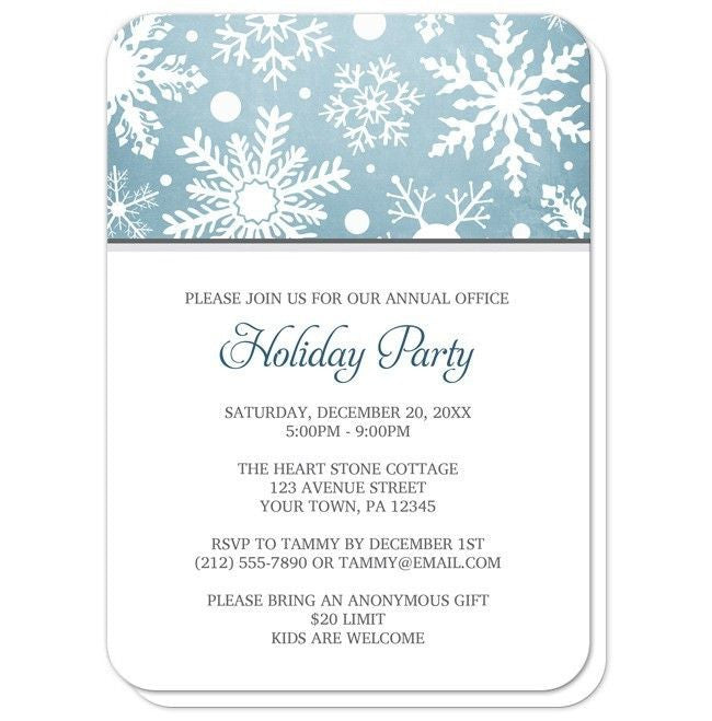 Winter Snowflake Blue Holiday Party Invitations at  Artistically Invited