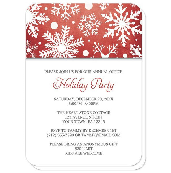 Winter Snowflake Red Holiday Party Invitations - Artistically Invited