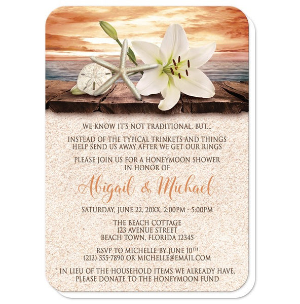 Lily Seashells Sand Autumn Beach Honeymoon Shower Invitations - rounded corners