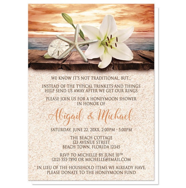 Lily Seashells Sand Autumn Beach Honeymoon Shower Invitations