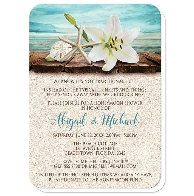 Lily Seashells Sand Beach Honeymoon Shower Invitations at  Artistically Invited