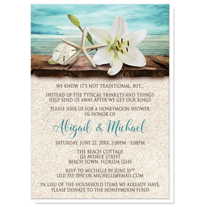 Lily Seashells Sand Beach Honeymoon Shower Invitations - Artistically Invited