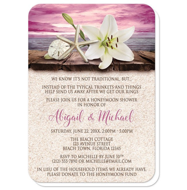 Lily Seashells Sand Magenta Beach Honeymoon Shower Invitations at  Artistically Invited
