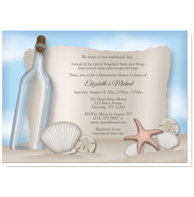 Message from a Bottle Beach Honeymoon Shower Invitations