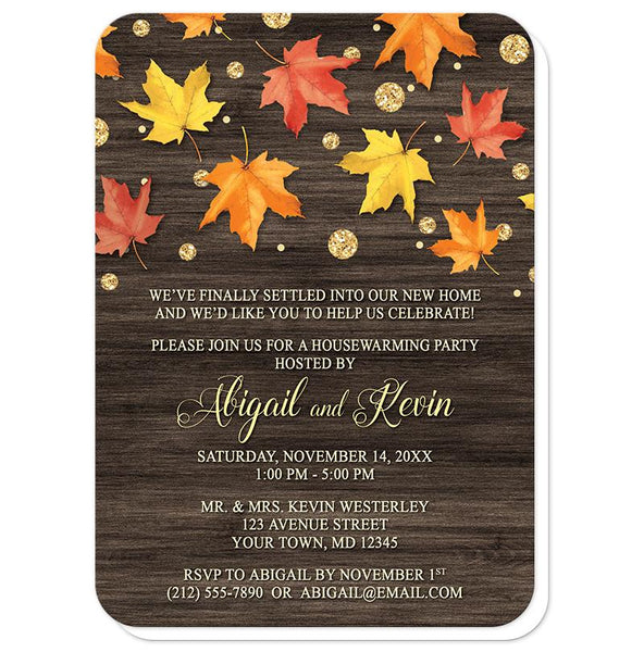 Falling Leaves with Gold Autumn Housewarming Invitations - rounded corners