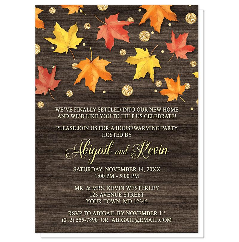 Falling Leaves with Gold Autumn Housewarming Invitations - Artistically Invited