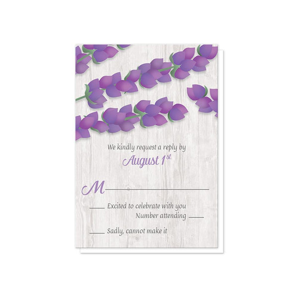 Lavender RSVP Cards to match Lavender Wedding Invitations - Whitewashed Wood Lavender RSVP Cards at Artistically Invited