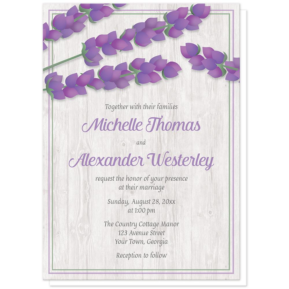 Lavender Wedding Invitations - Whitewashed Wood Lavender Wedding Invitations at Artistically Invited