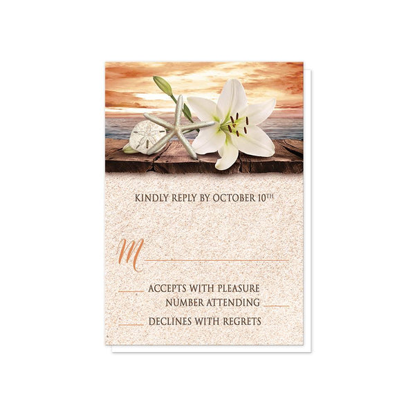 Autumn Beach Wedding RSVP Cards - Lily Seashells Sand Autumn Beach RSVP Cards at Artistically Invited