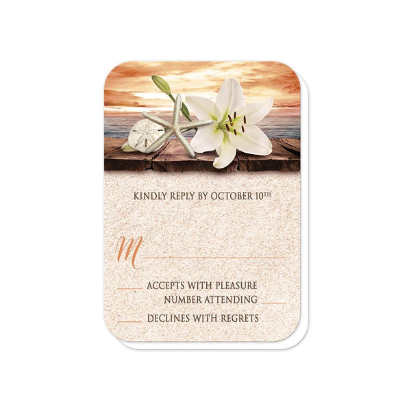 Autumn Beach Wedding RSVP Cards - Lily Seashells Sand Autumn Beach RSVP Cards (rounded corners) at Artistically Invited