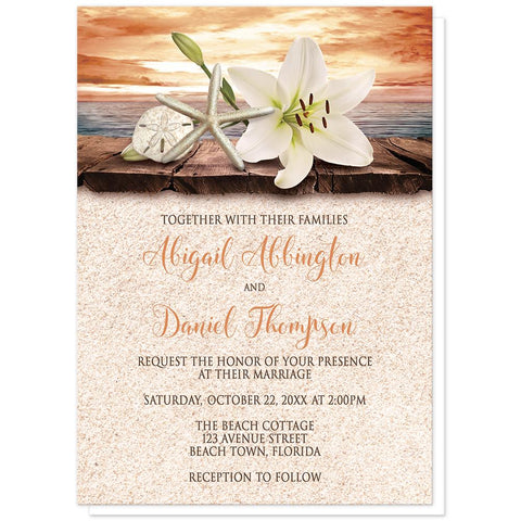 Autumn Beach Wedding Invitations - Lily Seashells Sand Autumn Beach Wedding Invitations at Artistically Invited