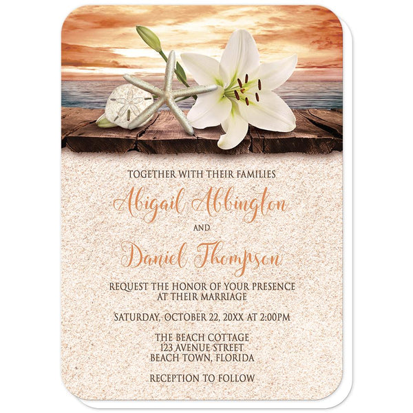 Autumn Beach Wedding Invitations - Lily Seashells Sand Autumn Beach Wedding Invitations (rounded corners) at Artistically Invited