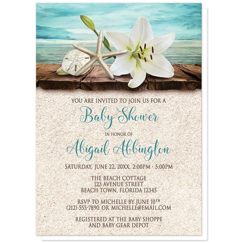 Lily Seashells Sand Beach Baby Shower Invitations at Artistically Invited