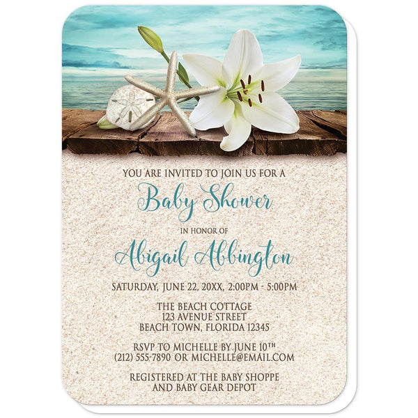 Lily Seashells Sand Beach Baby Shower Invitations (rounded corners) at Artistically Invited