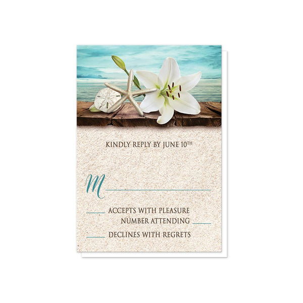 Lily Seashells Sand Beach Wedding RSVP Cards at Artistically Invited