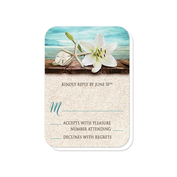 Lily Seashells Sand Beach Wedding RSVP cards (rounded corners) at Artistically Invited