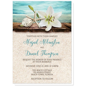 Lily Seashells Sand Beach Wedding Invitations at Artistically Invited