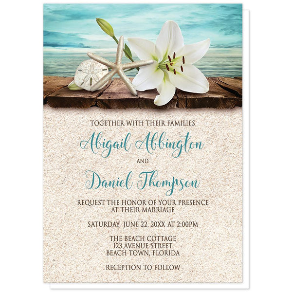 Beach Wedding Invitations - Lily Seashells and Sand Beach Wedding Invitations from Artistically Invited