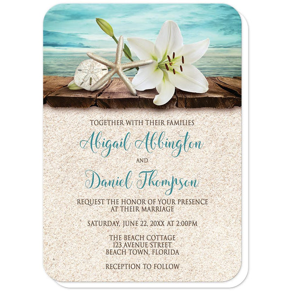 Lily Seashells Sand Beach Wedding Invitations (rounded corners) at Artistically Invited