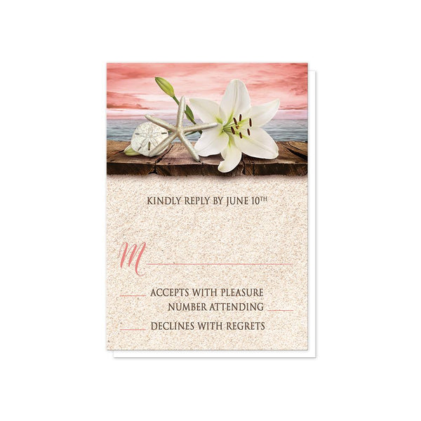 Lily Seashells Sand Coral Beach Wedding RSVP cards at Artistically Invited