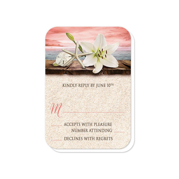 Lily Seashells Sand Coral Beach Wedding RSVP cards (rounded corners) at Artistically Invited