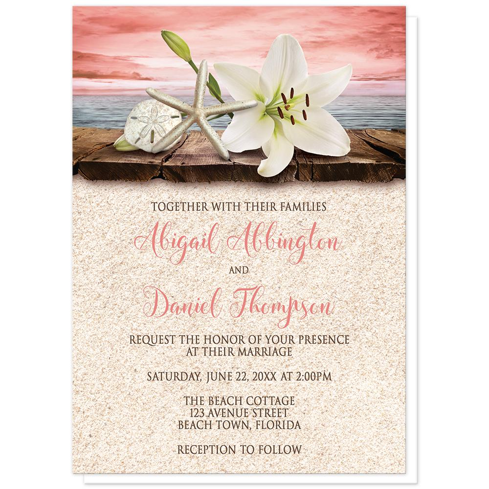 lily seashells sand coral beach wedding invitations online at