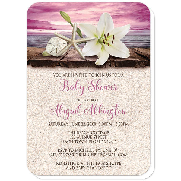 Lily Seashells Sand Magenta Beach Baby Shower Invitations