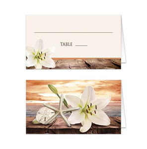 Lily Seashells Sand Autumn Beach Folded Place Cards