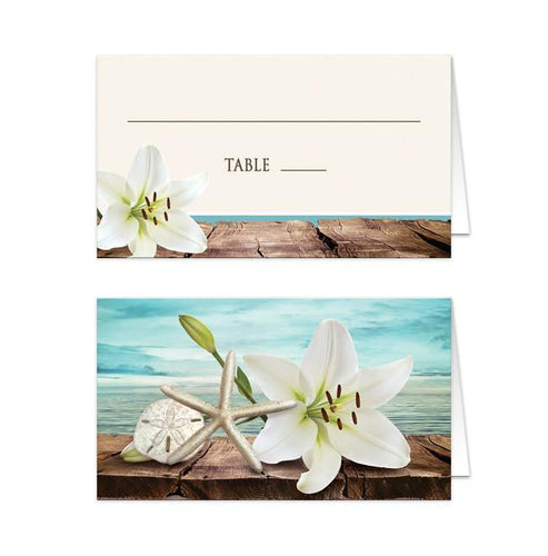 Lily Seashells Sand Beach Folded Place Cards