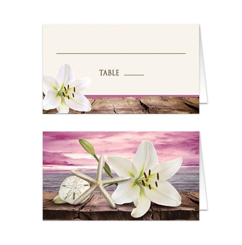 Lily Seashells Sand Magenta Beach Folded Place Cards
