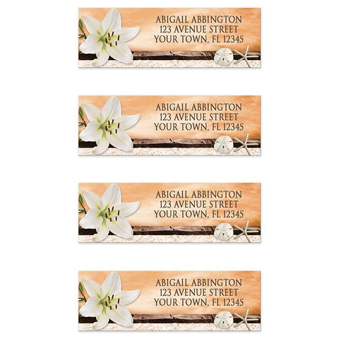 Lily Seashells Sand Autumn Beach Address Labels at Artistically Invited