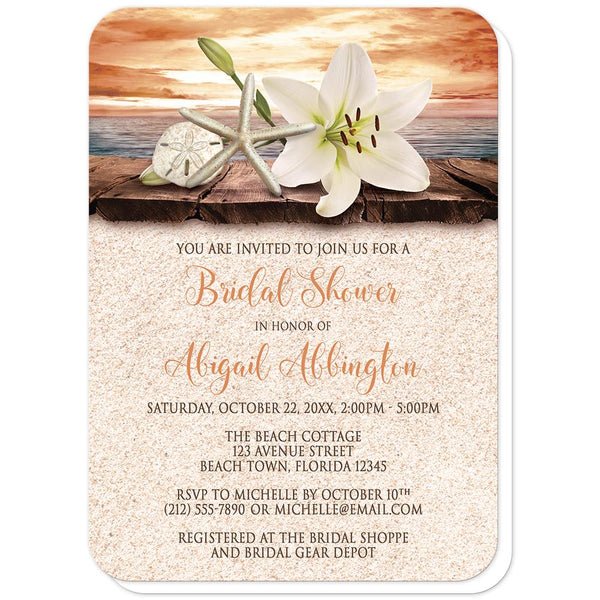 Autumn beach bridal shower invitations - Lily Seashells Sand Autumn Beach Bridal Shower Invitations (rounded corners) at Artistically Invited