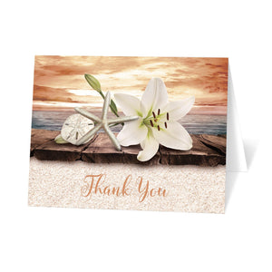 Lily Seashells and Sand Autumn Beach Thank You Cards at Artistically Invited