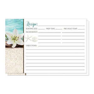 Beach Recipe Cards - Lily Seashells Sand Beach Recipe Cards at Artistically Invited