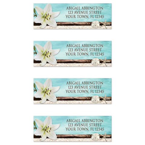 Lily Seashells and Sand Beach Address Labels at Artistically Invited
