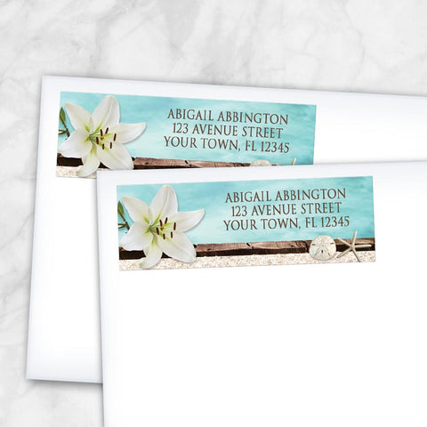 Lily Seashells and Sand Beach Address Labels