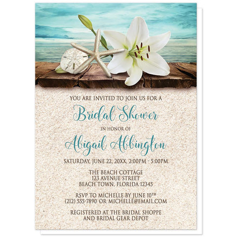Lily Seashells Sand Beach Bridal Shower Invitations at Artistically Invited