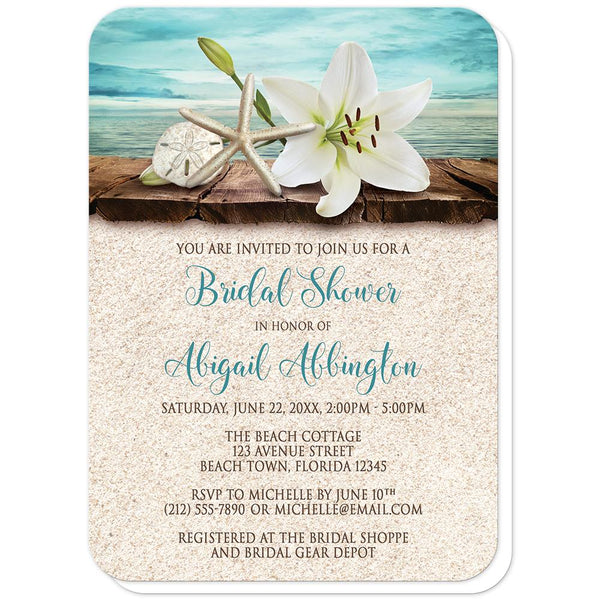 Lily Seashells Sand Beach Bridal Shower Invitations (rounded corners) at Artistically Invited