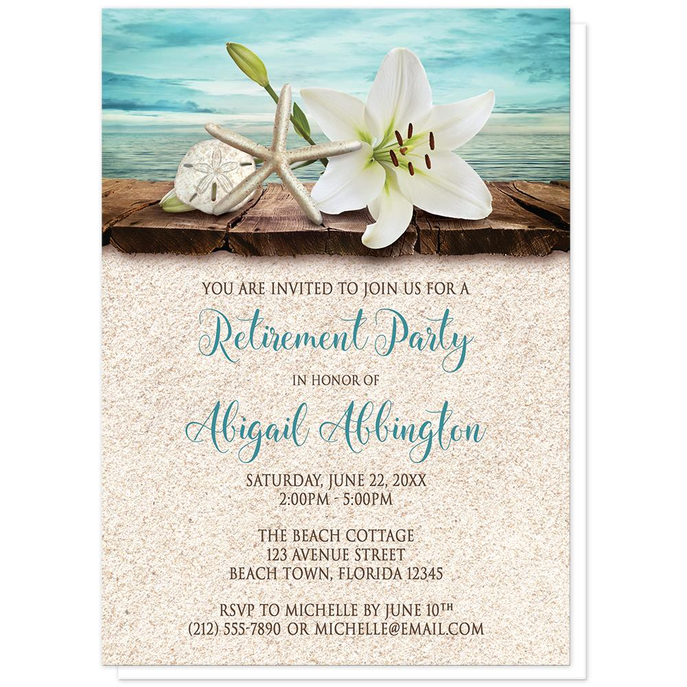 Lily Seashells and Sand Beach Retirement Invitations at Artistically Invited