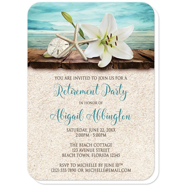 Lily Seashells and Sand Beach Retirement Invitations (rounded corners) at Artistically Invited