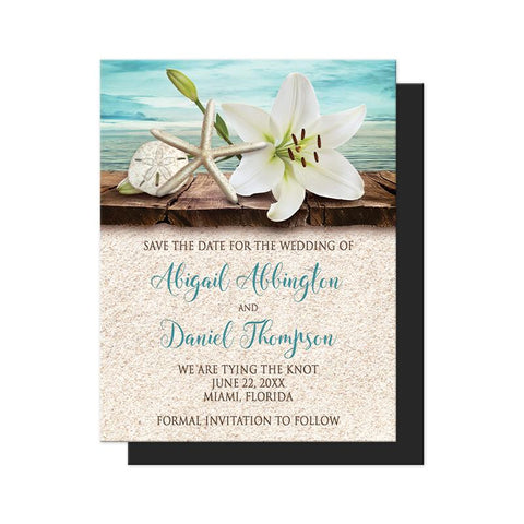 Lily Seashells and Sand Beach Save the Date Magnets at Artistically Invited